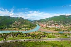 Panorama of Mtskheta from Monastery Jvari. Georgia. Stock Image