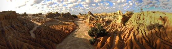 Panorama - Mungo nationaal park, NSW, Australië Royalty-vrije Stock Afbeeldingen