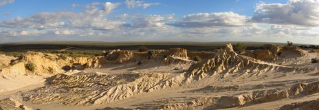 Panorama - Mungo nationaal park, NSW, Australië Stock Foto's