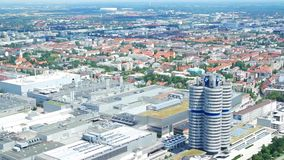 Panorama Munich with  BMW Exhibition Centre stock video footage