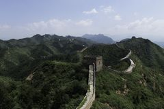 Panorama of Mutianyu, section of the Great Wall of China. Mountains and hill ranges surrounded by green trees during summer. Hua. Panorama of Mutianyu, a section stock photos