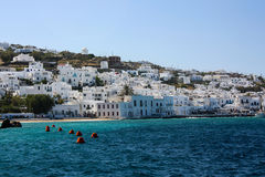 Panorama of Mykonos in Greece. View from the sea on Mykonos Stock Photography