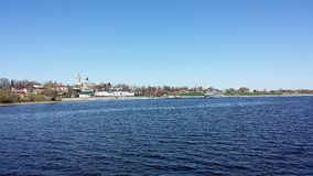 Panorama Myshkin. View of the city from the high bank of the river Stock Photography