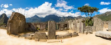 Panorama of Mysterious city - Machu Picchu, Peru,South America. The Incan ruins. Example of polygonal masonry and skill Stock Photos