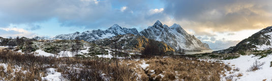 Panorama of mystic evening landscape on Lofoten islands, Royalty Free Stock Images