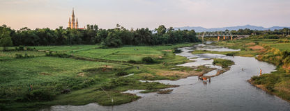 Panorama na życie codzienne scenie, Phong Ke Łomota parka narodowego, Wietnam Zdjęcia Royalty Free