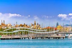 Panorama na Barcelona porcie morskim Zdjęcie Royalty Free