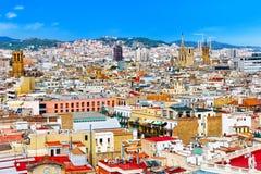 Panorama na Barcelona porcie morskim od Montjuic kasztelu Zdjęcia Royalty Free
