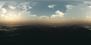 Panorama nad ocean przy zmierzchem Zdjęcie Stock