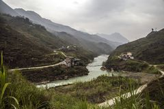 Panorama nahe Landschaft Vietnam MA-PUs Leng lizenzfreies stockfoto