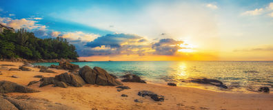 Panorama of Naithon sea beach at sunset Royalty Free Stock Photo