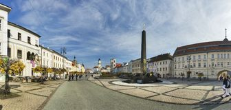 Panorama of Namestie SNP square at Banska Bystrica. During autumn, with the Black obelisk, Slovakia Stock Images