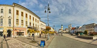 Panorama of Namestie SNP square at Banska Bystrica. During autumn, with central road, Slovakia Stock Photos
