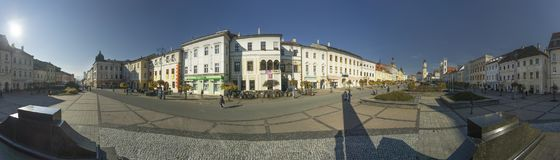 Panorama of Namestie SNP square at Banska Bystrica. During autumn with sun Stock Images