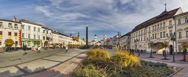 Panorama of Namestie SNP square at Banska Bystrica. Slovakia, during autumn Royalty Free Stock Images