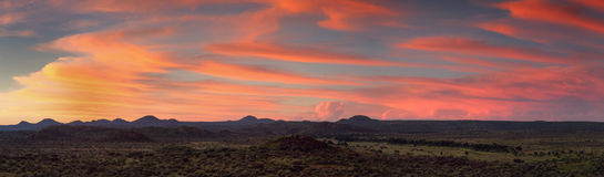 Panorama of the namibian savannah at sunset stock photo