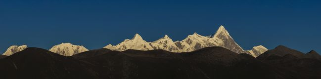 The panorama of Namjagbrawa. Namcha Barwa or Namchabarwa is a mountain in the Tibetan Himalaya. The traditional definition of the Himalaya extending from the Royalty Free Stock Photos