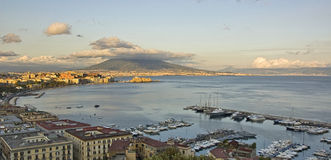 Panorama of Naples bay Stock Photos
