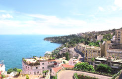 Panorama of Naples and Mediterranean sea Stock Photos