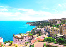 Panorama of Naples and Mediterranean sea Stock Photography