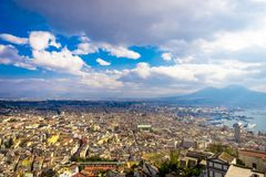 Panorama of Naples, view of the port in the Gulf of Naples and Mount Vesuvius royalty free stock photo