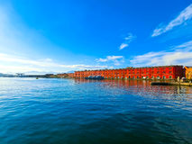 Panorama of Naples, view at port in the Gulf Royalty Free Stock Photo
