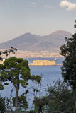 Panorama of Naples, view of the port in the Gulf of Naples Royalty Free Stock Photography