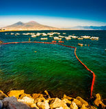 Panorama of Naples, view of the port in the Gulf of Naples, Royalty Free Stock Photo