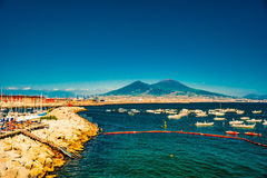 Panorama of Naples, view of the port in the Gulf of Naples, Royalty Free Stock Photos