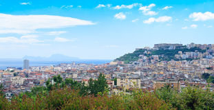 Panorama in Napoli. City on a hill with bay, Napoli, Italy royalty free stock photo