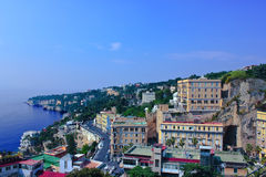 Panorama in Napoli. City on a hill with bay, Napoli, Italy royalty free stock photos