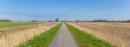 Panorama of a narrow road through the countryside in Groningen Stock Image