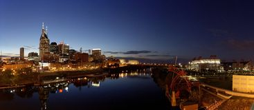 Panorama of Nashville at night. A night panorama of the skyline of Nashville, Tennessee from the Shelby Street Bridge Stock Images