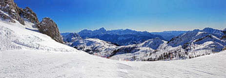 Panorama Nassfeld. A panaroma picture of the top of Nassfeld (Austria royalty free stock images