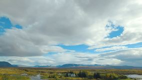Panorama of national icelandic park Thingvellir from the highest point in summer day, cloudy sky. 4K stock video