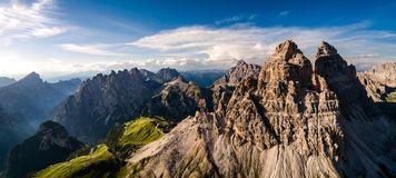 Panorama National Nature Park Tre Cime In the Dolomites Alps. Be royalty free stock image