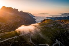 Panorama National Nature Park Tre Cime In the Dolomites Alps. Be stock photo