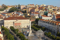 Panorama. The National Teather and Rossio square.  Lisbon. Portugal. Panoramic view over The National Teather Dona Maria II and Dom Pedro IV or Rossio square Stock Photos