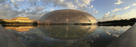 Panorama nationalen Opernhauses Chinas und des großen Halls der Leute Lizenzfreies Stockfoto