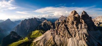 Panorama-nationaler Natur-Park Tre Cime In die Dolomit-Alpen Seien Sie lizenzfreies stockbild