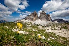 Panorama-nationaler Natur-Park Tre Cime In die Dolomit-Alpen Seien Sie stockfotografie