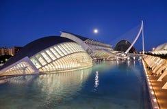 Panorama- nattsikt, Valencia ny stad, Spanien arkivfoto