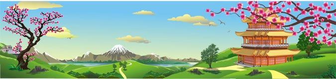 Panorama natura, Azja pałac royalty ilustracja