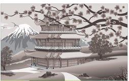 Panorama natura, Azja pałac ilustracja wektor