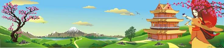 Panorama, natura w Japonia royalty ilustracja