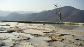 Mexico Hierve el Agua. Panorama on natural mineral terraces with water ,move shot tilt shift lens. Mexico Hierve el Agua stock video