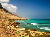 Panorama of natural Rocky Diylesha beach , Soqotra island Yemen. Panorama of natural Rocky Diylesha beach , Soqotra island, Yemen Stock Photo