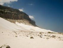 Panorama naturalny Diylesha plażowy biały piasek Soqotra wyspa, Jemen Zdjęcia Stock