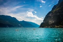 Panorama of the nature by the Lake Garda royalty free stock images