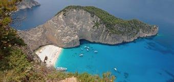 Panorama of Navagio Beach in Zakynthos Island Greece Royalty Free Stock Photo
